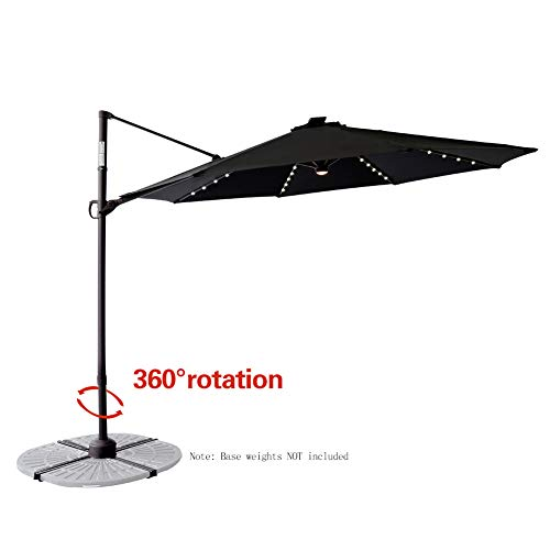 C-Hopetree 10' Outdoor Offset Hanging Cantilever Market Umbrella with Solar LED Lights and Tilting for Balcony Patio Table or Deck, -