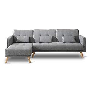 Bobochic – SCANDINAVE – Canapé d'angle réversible Convertible – 267x151x88cm – Gris Clair
