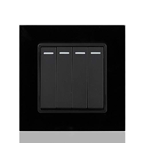 Glazed black Four Double Control Switch Socket Panel 86 Type Wall Dark Clothes Position Control Electric Light 4 Switch Socket Household  (color  Glazed White)