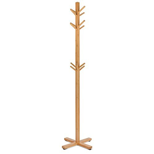 Homfa Bamboo Coat Rack Heavy Duty Free Standing Hat Hanger Holder Hooks Display Stand Hall Tree with 3 Tiers for Clothes Scarves Hats ()