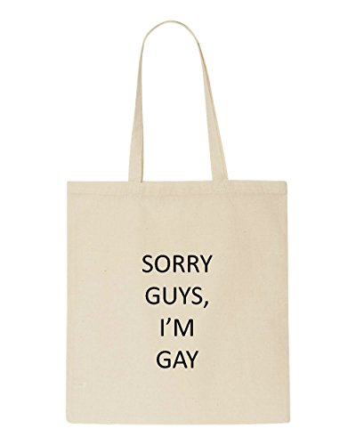 Beige Gay Flirty Cute Tote I'm Guys Shopper Bag Sorry Aw1qZH8y