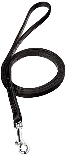 Perri's Leather 1/2-Inch Black Leather Dog Leash, 5-Feet