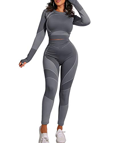 OYS Workout Sets for Women 2 Piece Outfits Seamless High Waist Yoga Leggings Running Sports Long Sleeve Gym Clothes