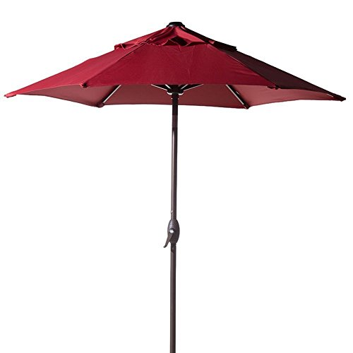 Abba Patio 7-1/2 ft. Round Outdoor Market Patio Umbrella with Push Button Tilt and Crank Lift, Red (Red Patio Umbrellas)