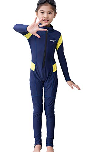 JELEUON Little Kids Girls One Piece Water Sports Sun Protection Rash Guard UPF 50+ Long Sleeves Full Suit Swimsuit Wetsuit ()