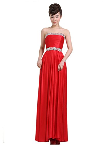 VogueZone009 Womens Strapless Silk Formal Dresses with Sewing Beads and Ruched, Red, 16 by VogueZone009