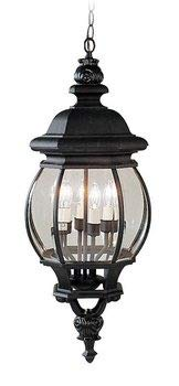 Livex Lighting 7705-04 Frontenac - Four Light Exterior Lantern, Black Finish with Clear Beveled Glass