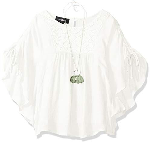 (Amy Byer Girls' Big Poncho Style Top, Ivory L)
