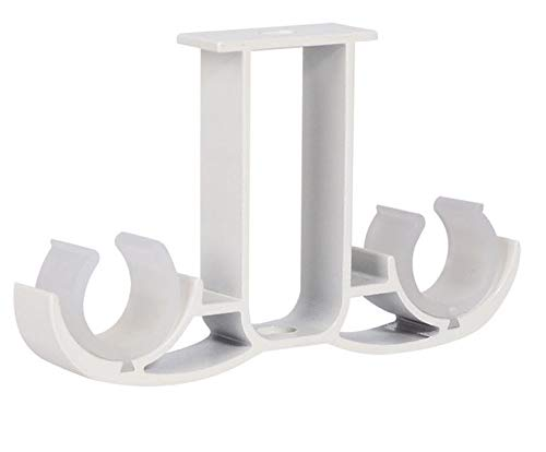 Guard 6Pcs Double Curtain Rod Brackets,Ceiling Mount Bracket,Aluminum Alloy Double Curtain Drapery Rod Brackets for 28-32mm/1.1-1.25 Inch Diameter Rod,Ivory White Finish