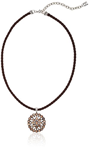 Chaps Necklace - Chaps Women's Conch Stone Cord Pendant Necklace, Brown