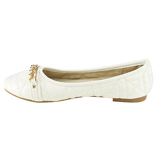 Womens Dress White Slip BELLA Flats Chain Metal Comfort On MARIE Quilt p5wwvx68q