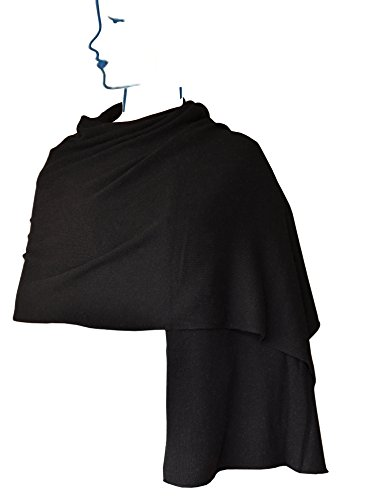 Ellettee, Black 100% Cashmere Knitted Scarf Classic Premium Shawl Luxurious Elegant Solid Color Wrap Art Oversized Shawl, Oblong by Ellettee Collections