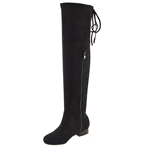 ESSEX GLAM New Womens Over The Knee Thigh HIGH Elasticated Ladies Flat Stretch Boots 3-8 Black g9bAGbaQ