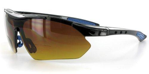 Daredevil Fashion Bifocal Sunglasses w/ Wrap-Around Sports Design and Anti-Glare Coating for Active Men (Black+Blue w/ Amber +2.00)