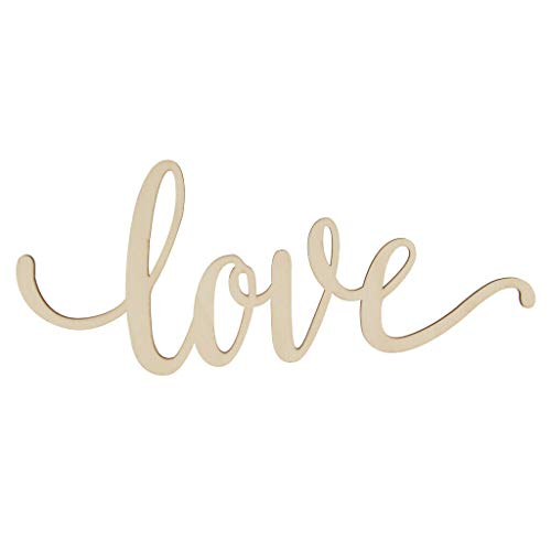 (BROSCO Love Unfinished Wooden Sign Home Party Wedding Rustic Decor)