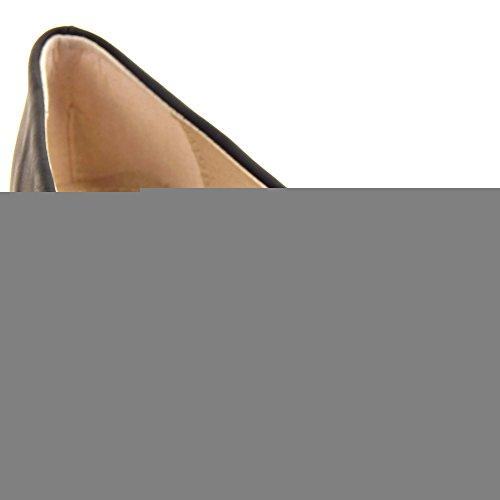 Ankel 1 Sopily Damesko Ballet Blokk Buer Kvinners Decollete høy Cm Svart Rhinestone Flate Hæl IfppPqw