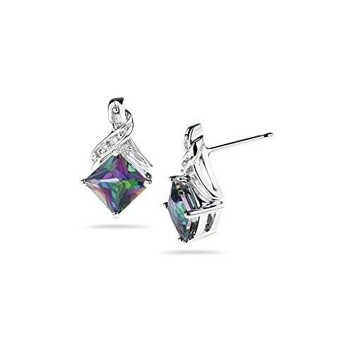 - 0.03 Ct Diamond & 2.23 Ct Mystic Fire Topaz Earrings in 14K White Gold