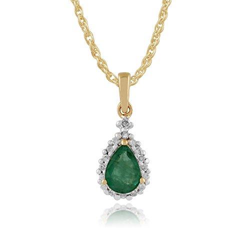 Gemondo 9ct Or Jaune Émeraude Et Diamant Poire Serti 45cm Collier & Bague Parure