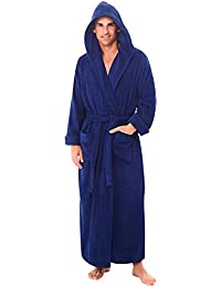 Mens Turkish Terry Cloth Robe, Long Cotton Hooded Bathrobe