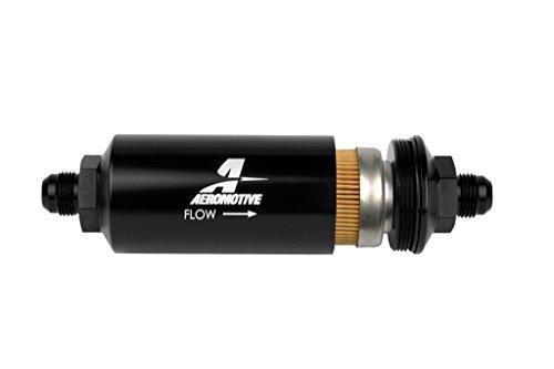 Aeromotive 12377 Line Filter-(an-8 Male) 10 Micron Fabric Element Bright Dip Black ()