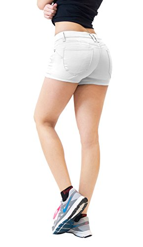 Womens Butt Lifting Twill Denim Shorts SH43301X White 18 by HyBrid & Company