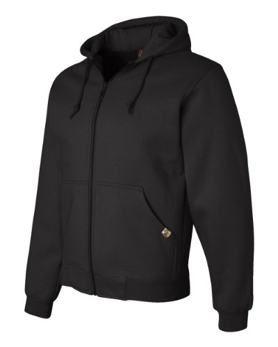 DRI Duck Men's 7033 Crossfire Heavyweight Power Fleece Zip-Up Jacket Thermal Lining Hooded Sweatshirt (Medium, Black)