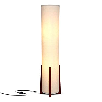 Brightech Parker - Modern LED Floor Lamp for Living Rooms - Asian Design w/Wood Frame - Contemporary Standing Light 48 Inches Tall - Soft Light Perfect for Bedside with LED Bulb - Havanah Brown
