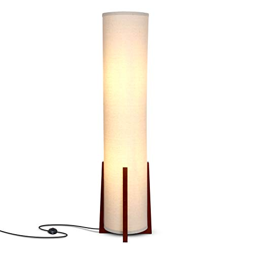 Brightech Parker - Modern LED Floor Lamp for Living Rooms - Asian Design w/Wood Frame - Contemporary Standing Light 48 Inches Tall - Soft Light Perfect for Bedside with LED Bulb - Havanah Brown (Sale Cheap Floor Lamps)