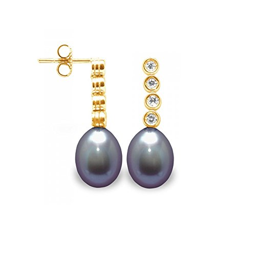 Boucles d'Oreilles Perles de Culture Noires, Diamants et Or Jaune 750/1000 -Blue Pearls-BPS K360 W
