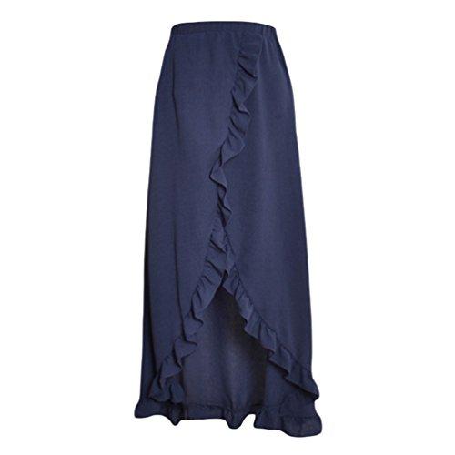YouPue t Jupe Femmes Maxi Longue Robe Plage Bohme Pour Bifurcation Jupes Solide Couleur Marine