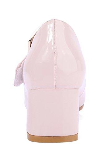 Basse Escarpins Femmes Boucle Bloc Talons Vernis Rose Bout Avec Grand Rond Confortables À Uh F8wxqp5q