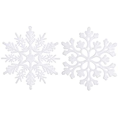 Sea Team Plastic Christmas Glitter Snowflake Ornaments Christmas Tree Decorations, 4-inch, Set of 36