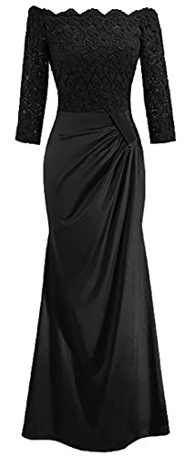Dress Evening Off Mermaid Black Lace Fishtail Gown Domple Shoulder Maxi Prom Womens a4vW7wqn6