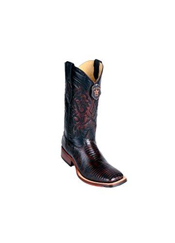 - Men's Wide Square Toe Black Cherry Genuine Leather Lizard Teju Skin Western Boots
