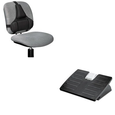 Microban Adjustable Footrest - KITFEL8035001FEL8037601 - Value Kit - Fellowes Adjustable Locking Footrest w/Microban (FEL8035001) and Fellowes Professional Series Back Support (FEL8037601)