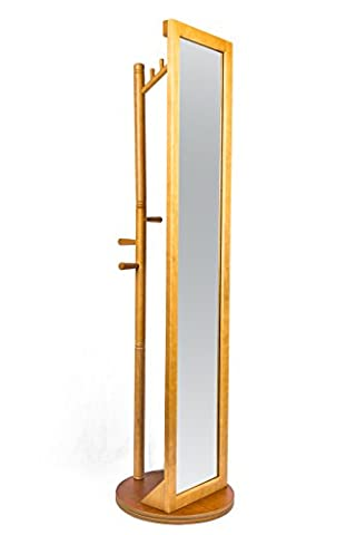 LCH Multifunctional Rotatable Solid Wood Frame Dressing Mirror Free Standing Cheval Floor Mirror with Coat Stand Coat Hooks - Mirror Coat Hooks