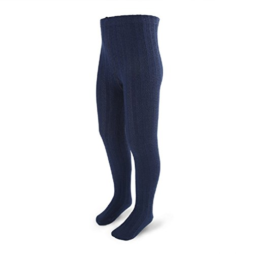 YABINA 16 Colors Girls Boys 3T-12 Winter Cotton Cable Knit Sweater Footed Tights (6, Navy Blue) -