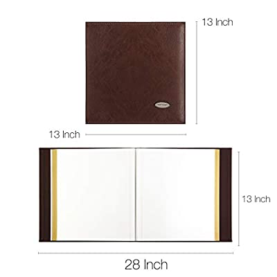 Magicfly Self-Adhesive Photo Album with Leather Cover, Family Albums for 3x5, 4x6, 5x7, 6x8, 8x10 Photos, DIY Albums, Black