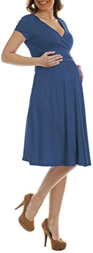 Women's Fit and Flare Dress V-neck Ruched Flowy Pleated Cap Sleeve Dress,Navy,Small by TINYHI
