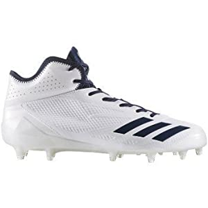 adidas Adizero 5Star 6.0 Mid Cleat Men's Football 10 White-Collegiate Navy-Collegiate Navy
