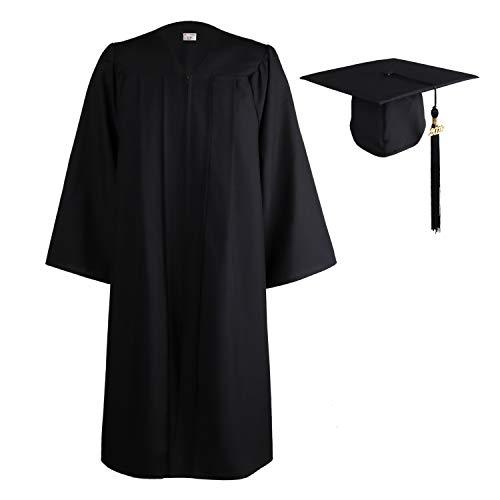 (OSBO GradSeason Unisex Matte Adult Graduation Gown Cap Tassel Set Black)