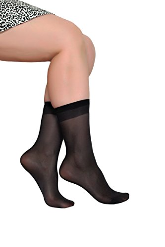 Women's Ankle High Sheer Socks 5 Pairs (Black)