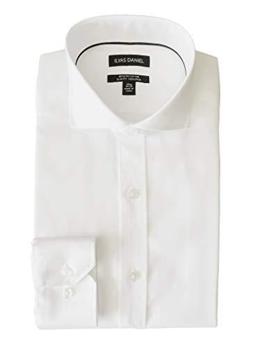 ILYAS DANIEL Men's Slim Fit Pinpoint Cutaway Collar Non Iron Dress Shirt- 100% Cotton 80s 2-ply (16'' Neck 34''-35'' Sleeve) White