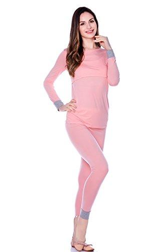bearsland Mujer Otoño Manga Larga Algodón lactancia materna de maternidad y pijama de lactancia Rosa