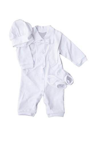 8efc0e8c56c21 Three Snails Boys Baptism Outfit White Christening Romper for Baby Cotton 3  Piece Suit