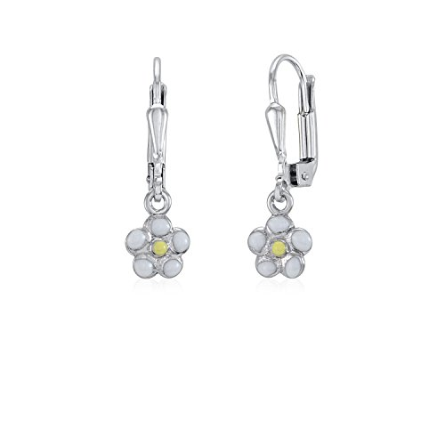 UNICORNJ Childrens Sterling Silver 925 Flower Earrings Leverback Dangle with Pink -