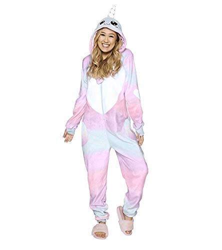 BESTICKON Ultra Plush Narwhal Onesie Riot Unisex Adult Animal Cosplay Costume Pajamas (Narwhal, X-Small) -