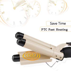 3 Barrel Curling Iron, Waver Curling Iron Adjustable 25mm Hair Waver Curling Iron for Long or Short Hair Heat Up Quickly Last Long Waver Iron Wand for Women