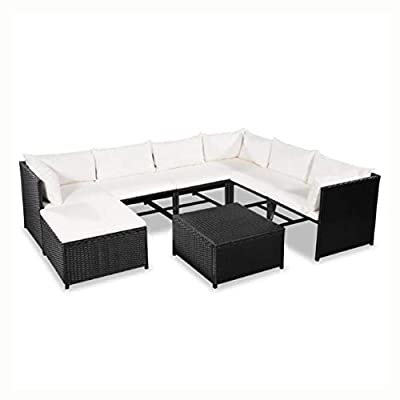 HomyDelight Outdoor Furniture Set, 8 Piece Garden Lounge Set with Cushions Poly Rattan Black