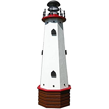 Solar Lighthouse Wooden Decorative Lawn And Garden Ornament   36 Inch   Red  Accents